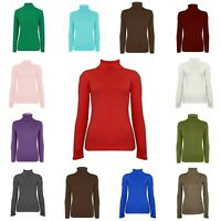 New Womens Ribbed Polo Neck Jumper Ladies Long Sleeve T Shirt Tee Top UK 8-14