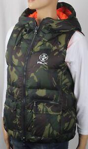 RLX Ralph Lauren Women Elmwood Camouflage Down Puffer Hooded Vest NWT $298