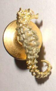 Vintage 18k yellow gold seahorse tie tac pin with diamond eye