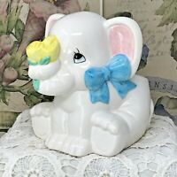 Vintage Elephant Planter White with Blue Bow Yellow Roses Baby Infant Nursery