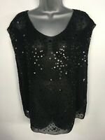 WOMENS ZARA WOMAN BLACK STAR SEQUIN EMBELLISHED SEE THROUGH PARTY TOP EU MEDIUM
