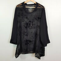 [ KATHLEEN BERNEY ] Womens Black Blouse Top  | Size XL or AU 16 / US 12