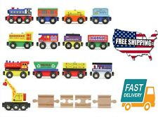 12 Set Kids Children Toy Hobbies Game Play Wooden Train Cars Railroad Tracks Fit