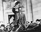 New 11x14 Photo: President Theodore Roosevelt in Car Waving Hat to Crowd
