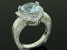 R114- Genuine 9ct Gold NATURAL Aquamarine & Diamond ENGAGEMENT Ring size M