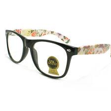 c4b3a5199595 Flower FLORAL Design CLEAR Lens 80 s Retro Fashion Eyeglasses BLACK
