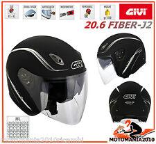 Casco Helmet Jet Givi 20.6 FIBER-J2 in fibra Doppia Visiera Nero Opaco tg S 56