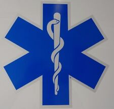 "18"" Star of Life - Ambulance Decal -Reflective Blue w/ White border"