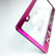 Pink Chrome Custom Personalize Laser Engraved License Plate Frame Bracket wCap