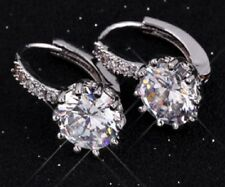Beautiful Silver Plated Round Clear Stone Diamante Earrings Pierced Ears Stud E5