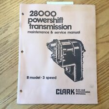 Clark 28000 R 3SP POWERSHIFT TRANSMISSION MAINTENANCE SERVICE MANUAL +PARTS BOOK