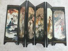 Oriental Chinese Art Folding Lacquerware Wooden Screen Ancient Ladies Home Decor