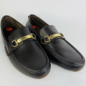 Cole Haan Shoes Gold Metal Bit Driver Loafer Leather Brown Sz 9.5 Slip On C26976