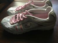 SKECHERS UK 3.5 EU 36.5 US 6.5 WHITE/PINK LEATHER/SYNTHETIC LACE UP TRAINERS