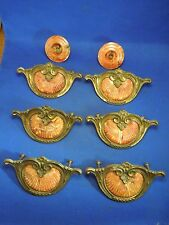 Vintage Lot of 8 Keeler Art Deco Bakelit & Brass Drawer Pull Handles