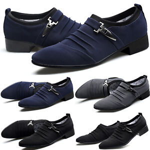 Mens Buckle Shoes Pointed Toe Wedding Formal Business Work Loafers Dress Shoes