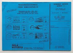 Absenderfreistempel Frühe Bundesrepublik 50er/60er, Katalog Phila Historica 1997