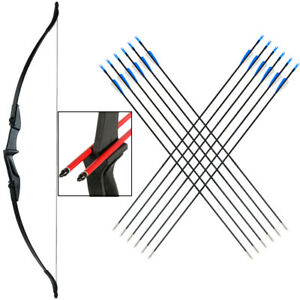 "20/30/40lbs 57"" Archery Hunting Takedown Recurve Bow 12x Target Arrows for RH/LH"