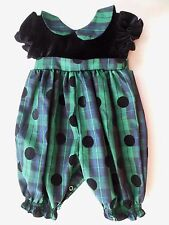 Christmas Baby Girl Romper 3 - 6 Months Green Black Plaid Checks Holiday Outfit