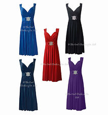 Knee Length V Neck Patternless Empire line Dresses for Women