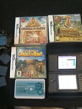 Nintendo DS Lite Black Handheld System With Charger + 3 games and carrying case