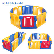 8 Panel Baby Safety Play Yards Kids Foldable Playpen Activity Center Fence Home