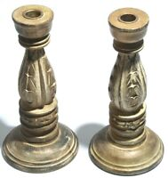 Pair of Vintage Wood Wooden Candlestick Candle Holders Carved Rustic Home Decor