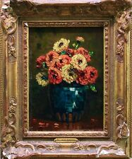 PAUL BELLANGER ADHEMAR (1868-1948) SIGNED FRENCH OIL CANVAS FLOWERS IN VASE