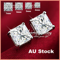 925 STERLING SILVER MENS WOMEN GIRLS SOLID SQUARE STUD EARRINGS LAB DIAMOND GIFT