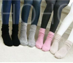 100% Wool Cashmere Women Socks Thick Crew 3 Pack Casual Winter Warm Sport Solid