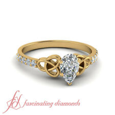 1 Carat Womens Petite Celtic Engagement Ring With Pear Shaped And Round Diamond