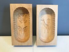 Set of 2 Wooden Butter Mold with Hand-Carved Design Rooster Hen