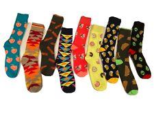 Mens Colorful Fun Crew Dress Socks Size 9-11 Tacos, Bacon, Beer, Peach, PitBull