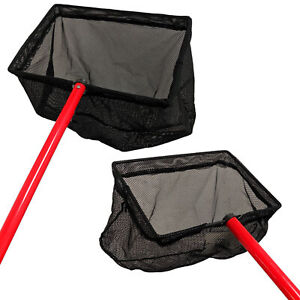 Pond Fish Catch Net 50/100cm Handle Strong Leaf Dip Garden Cleaning Scoop Koi