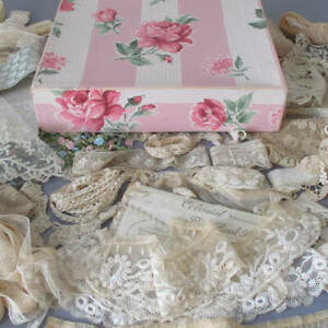 Vintage ROSES Wallpaper Box Filled w Dozens of Antique French LACE + Trims DOLLS