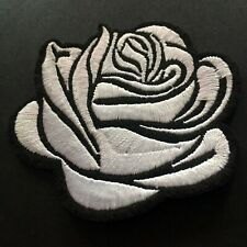 """White Rose Full Embroidered Iron on Sew On Patch Appliqué (2.75"""")"""