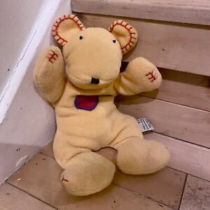 """Vintage Jelly Cat Yellow Beanie Red Heart Teddy Bear 9.5 """""""