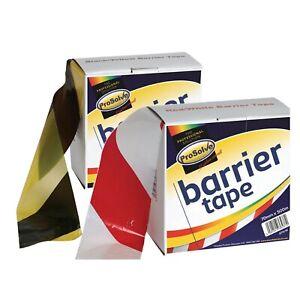 Hazard Tape Non Adhesive Warning Barrier Utility 500m Yellow/Black Red/White