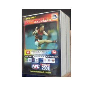 2001 TEAMCOACH COMPLETE COMMON BASE SET 100 CARDS RARE AFL