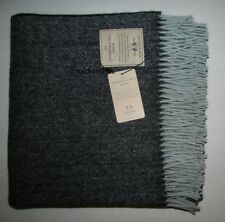 100% Wool Throw Lim Ed Abraham Moon UK Netherfield Mill Herringbone Black/Blue