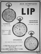 PUBLICITÉ JEUX OLYMPIQUES LIP TACHYLÈTRE CHRONOMÈTRE CHRONOGRAPHE SPHYGMOMÈTRE