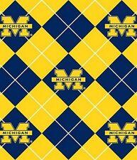 College University of Michigan UM Argyle 095 Fleece Fabric Print by the Yard