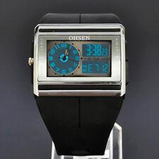 OHSEN Black Mens Analog Digital Alarm Light Chronometer Quartz Rubber Band Watch