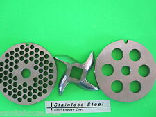 #5 3-pc Set 2 grinding plates & a New cutting knife for meat grinder