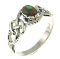 Celtic Knot Silver Ring, Mix-US-Size, w Abalone Shell, 925 Solid Sterling Silver