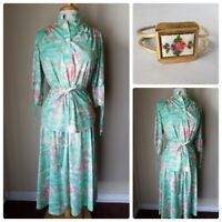 Vintage Women's Skirt Set Mod Retro Outfit Top Green Floral w/Matching Bangle