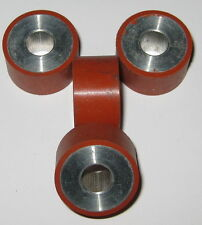 4 X Rubber Coated Aluminum Roller Set - 8 mm Bore - 22 mm Dia. - 12.5 mm Thick