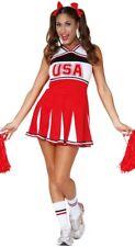 LADIES CHEERLEADER COSTUME ADULT CHEER LEADER USA FANCY DRESS HIGH SCHOOL