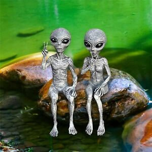Outer Space Alien Statue Garden  Figurine Set For Home Indoor Outdoor Decoration