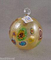 NEW MURANO MILLEFIORI AMAZING GOLD ORNAMENT BALL W/ MURRINE ITALIAN ART GLASS